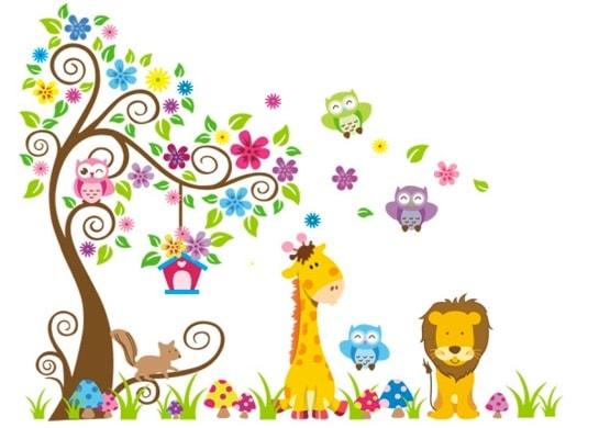Jungle Zoo: Búho en árbol con jirafa y león, por menos de 10 euros. Una verdadera ganga.