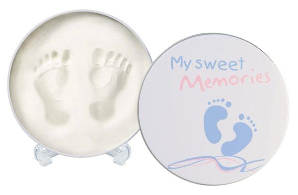 My Sweet Memories - Caja metálica redonda con material para conservar huellas del bebé