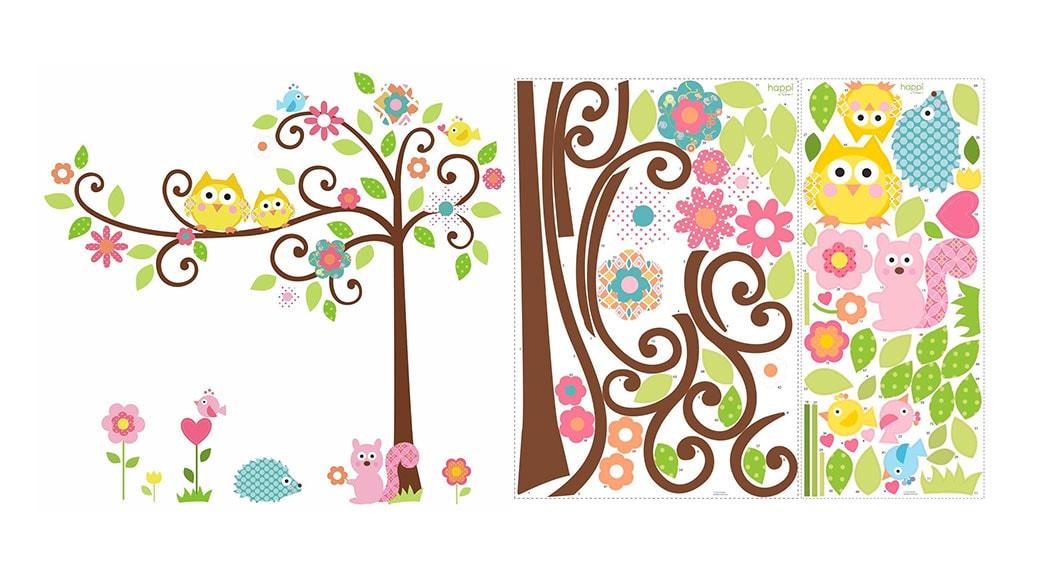 vinilo - Pegatinas para pared con diseño de árbol y animales