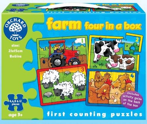 juegos: Orchard Toys - Caja con 4 puzzles, diseño de la granja