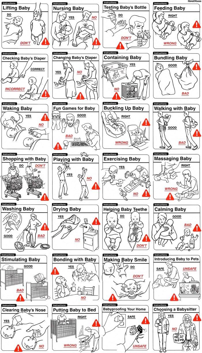 instrucciones para cuidar un bebe