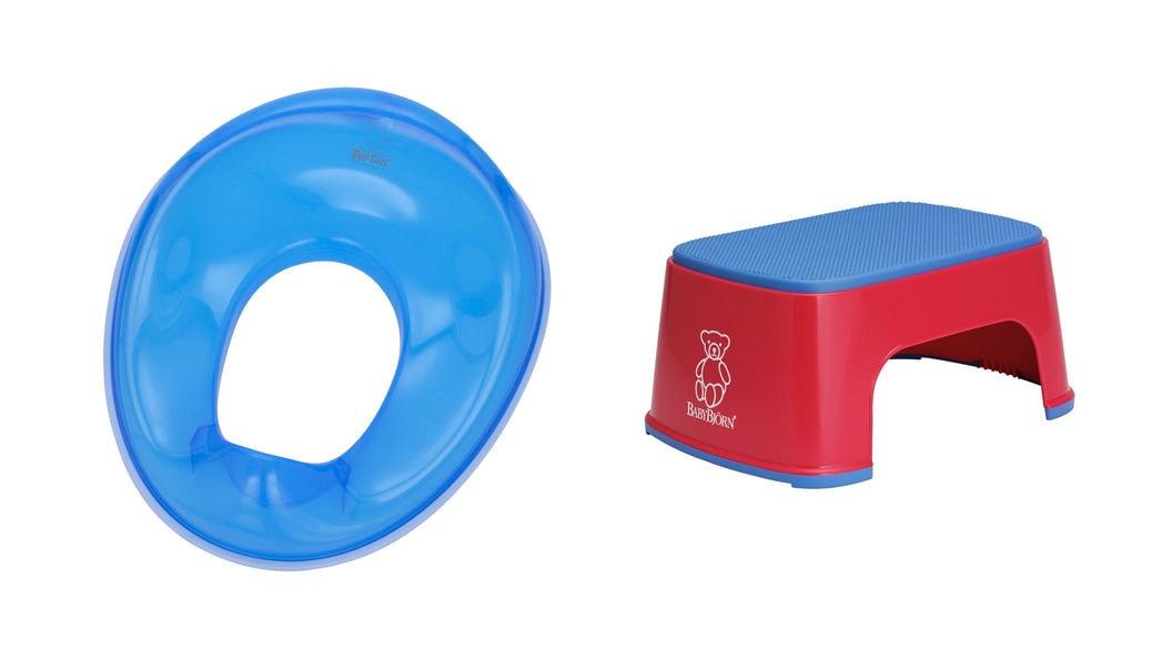 Asiento azul para WC Tippitoes TS1 y Taburete para niños BabyBjörn: todo lo que el niño necesita para estar cómodo en el baño