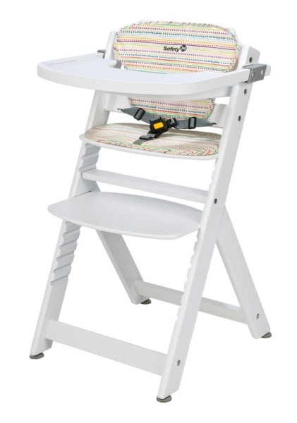 1.-Safety 1st Timba – Trona evolutiva + cojín, de madera en color blanco.