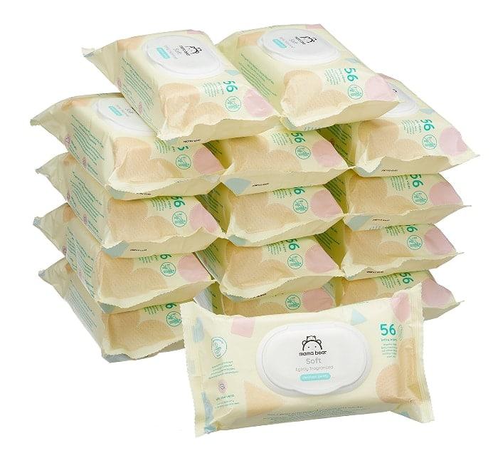 marca de Amazon:Mama Bear Soft Toallitas húmedas para bebé - 15 Paquetes (840 Toallitas)