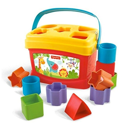 Fisher-Price - Bloques infantiles, con cubo transportable (unos 9 euros)