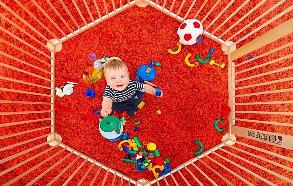 Felibaby Strolch - Parque de juegos para bebés y niños adaptado al crecimiento de madera de haya maciza