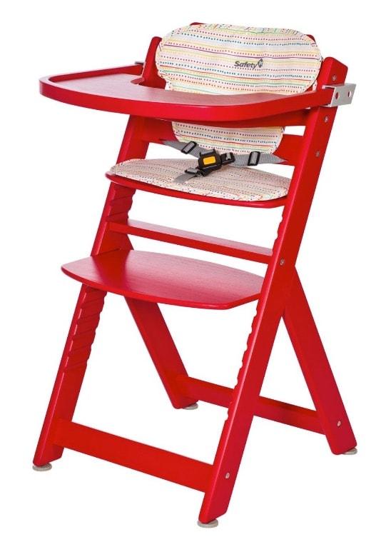 Safety 1st Timba - Trona con bandeja, cinturón de 3 puntos, de madera, con cojín, color rojo