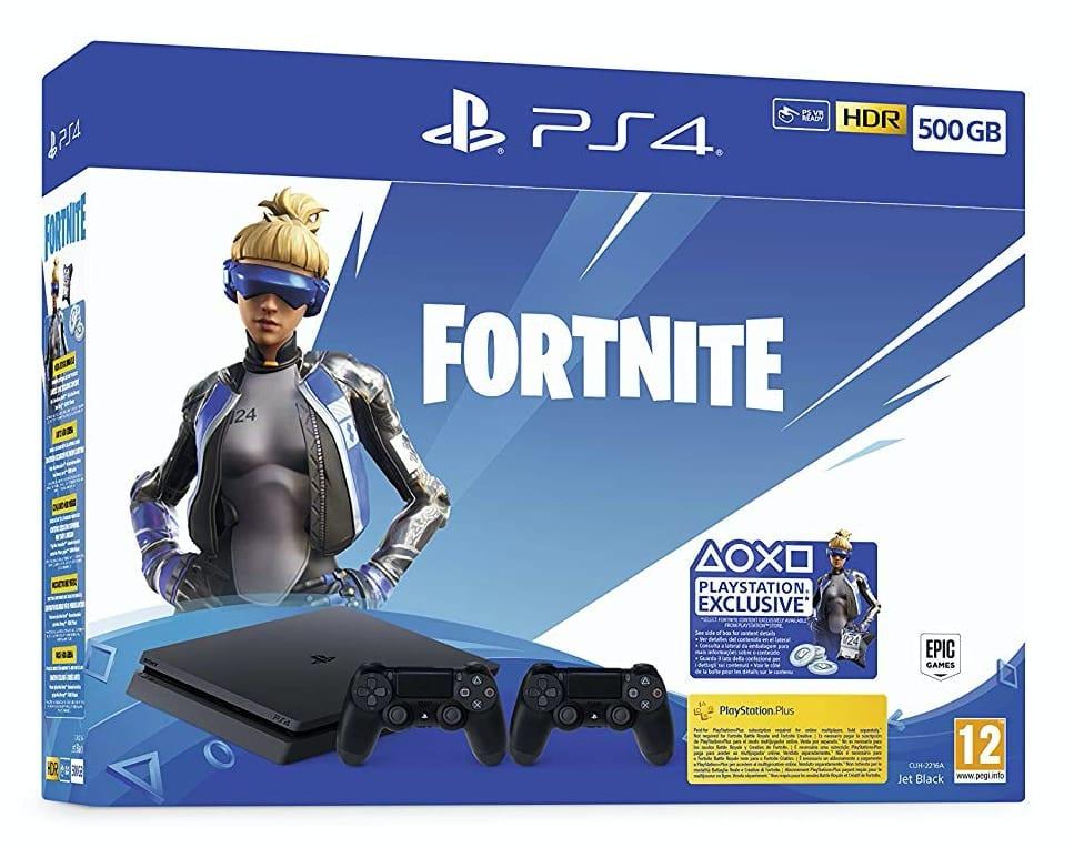 Playstation 4 (PS4) - Consola 500 Gb + 2 Mandos Dual Shock 4 + Contenido Fortnite