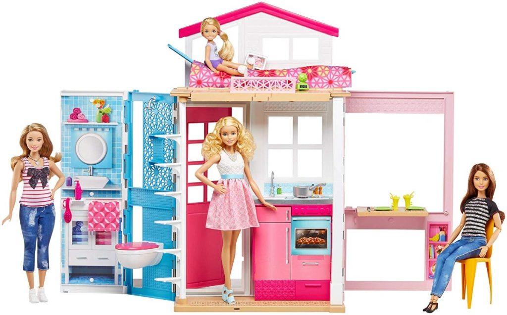 Casa de dos pisos transportable de Barbie - Con muñeca incluida (Mattel DVV48)