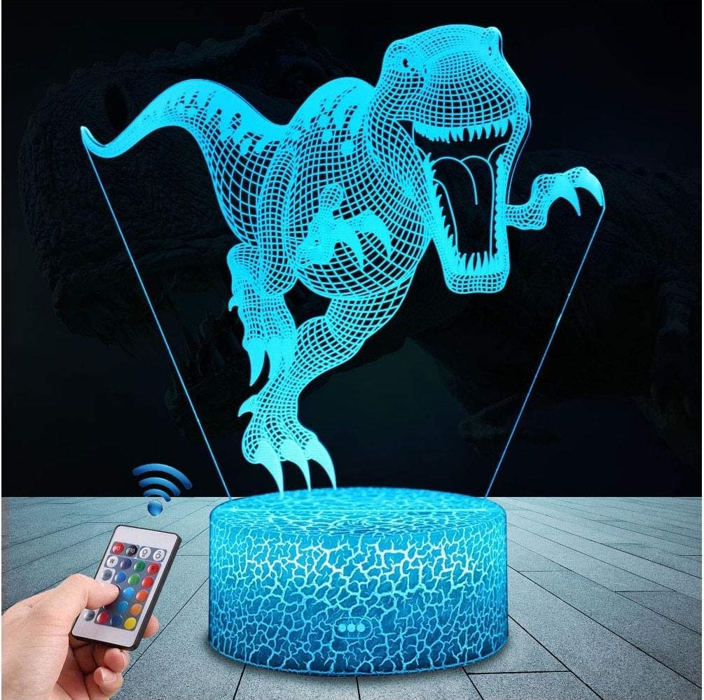 Lámpara de mesa 3D con proyección de dinosaurio