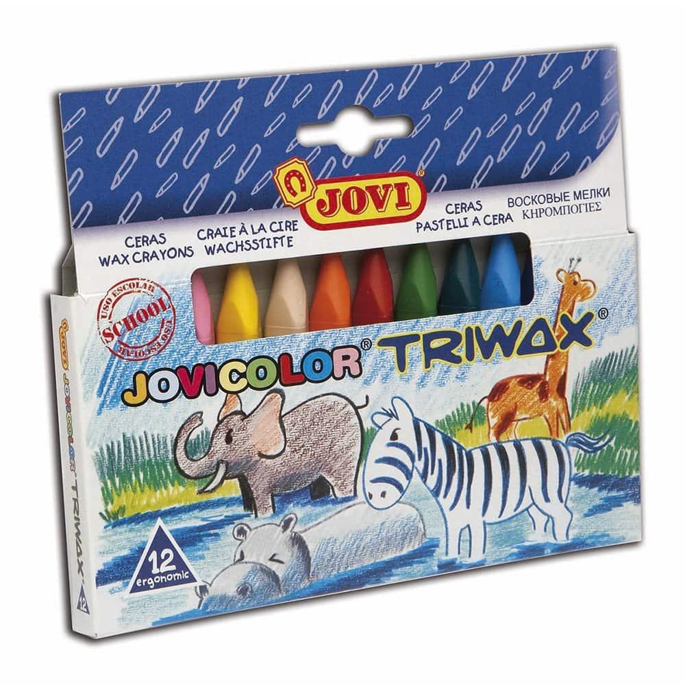 Jovi  Triwax - Pack de 12 ceras de colores triangulares