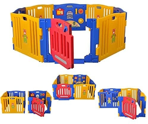 Parque de bebé XXL de plástico con 8 Piezas + Colchoneta Ibaby Play Twin