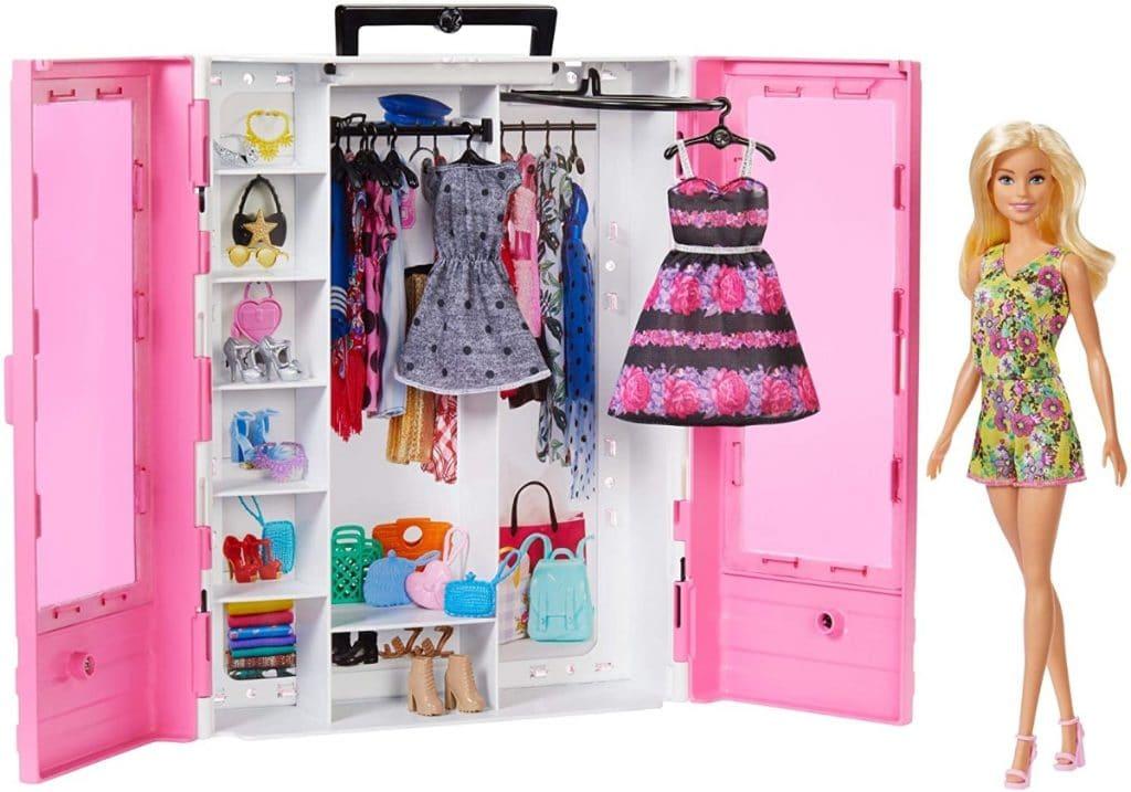 Barbie Fashionista - Armario con muñeca incluida, ropa, complementos y accesorios