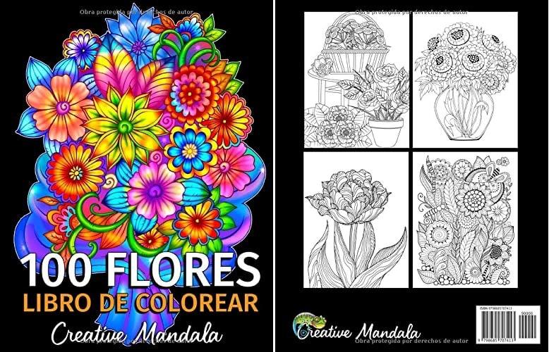 100 Flores - Libro de Colorear para Adultos